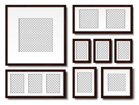 Picture on the wall. Set of empty frames with passepartout, for interior design. Mockup, Isolated on a white background. Vector. Illustration