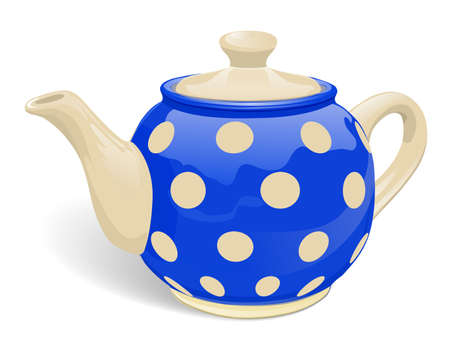 Realistic ceramic teapot. Blue with beige peas. Isolated on white background. Vector illustration.