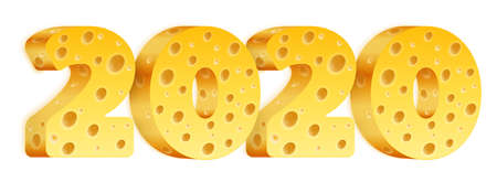 Figures 2020 with a cheese texture. Illustration for the New Year on the Chinese calendar-Rat. Isolated on a white background. Vector graphics.