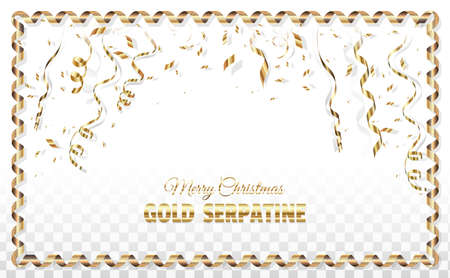 Banner - layout for Merry Christmas and Happy New Year. Greeting card with streamer and golden confetti. On a white background vector