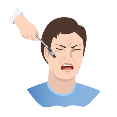 Symptom of meningitis. Cheekbone Syndrome Bekhterev. A face distorted by pain, a neurologist s hand with an instrument tapping the patient s cheekbone. Vector illustration Ilustración de vector
