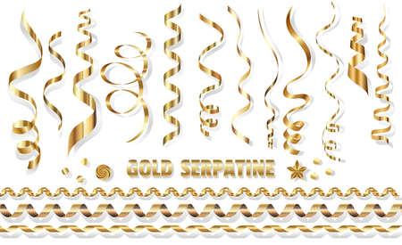 Serpentine, bright golden spirals on a white background. Golden tinsel for the design of Christmas cards. Isolated, vector illustration. Çizim