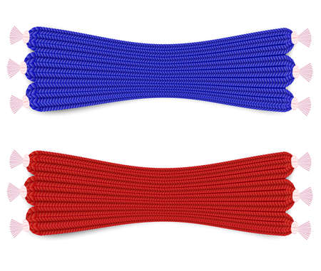 Knitted Scarves Set red and blue vector realistic