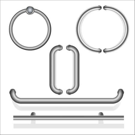 A set of metal door handles. Vertical pair of silver color pens. horizontal. in the shape of a circle. Reiki. Realistic. Isolated on white background. Vector illustration.