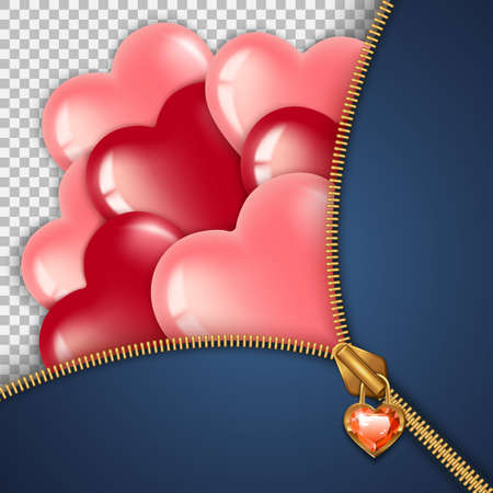 Zipper and balloons hearts