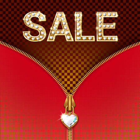 Sale banner - bright luxury letters in gold with precious stones, zipper with pendant. On a red background. Illustration for discounts. Vector.