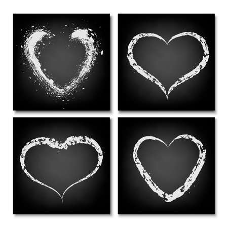 Hearts drawn on a black chalkboard. Freehand drawing in chalk. Vector illustration for valentines day.