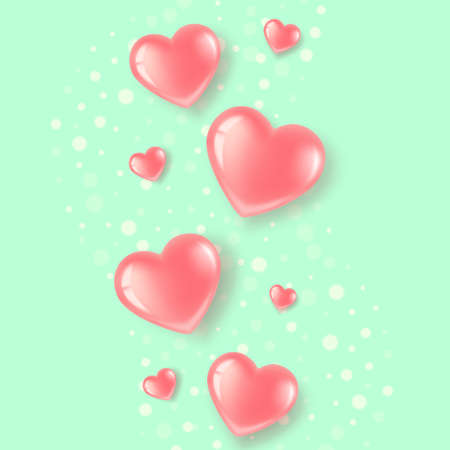 hearts on a green background