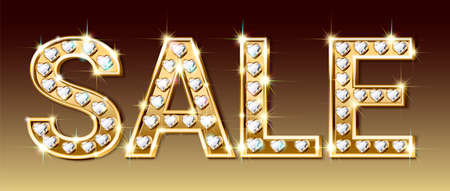 Sale banner, letters of gold and sparkling diamonds in the shape of a heart. Advertising for jewelry stores. Realistic style. Vector illustration.