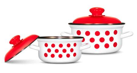 Two white pots