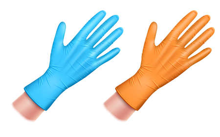 rubber gloved hand