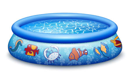 Blue Inflatable rubber pool with water. For families with children, happy summer. Isolated on a white background. Realistic vector illustration.
