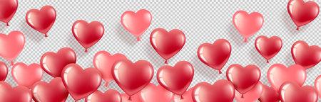Balloons red Heart Banner