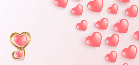 Pink hearts banner