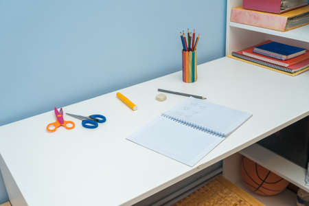 Close-up of cozy workspace in students room Stock Photo