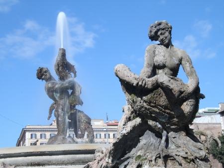 a fountain in the reppublic square on rome italy Stock Photo