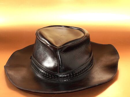 brown leather hat: a brown leather hat