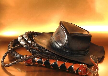 a picture a leather hat and whip