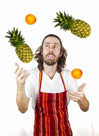 a chef play with the fruit Stock Photo - 17242038