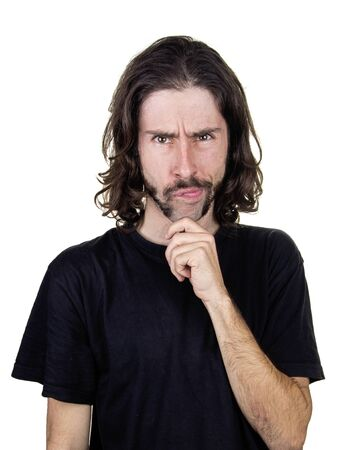 a men and expression perplexity. Stock Photo