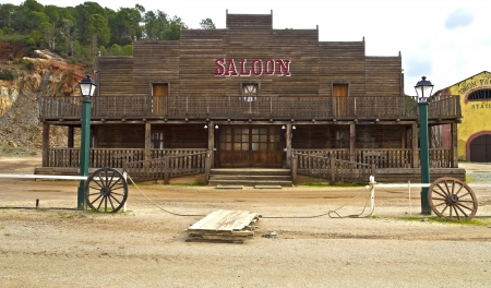 a background saloon far west