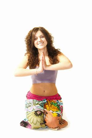 girl practice yoga Stock Photo