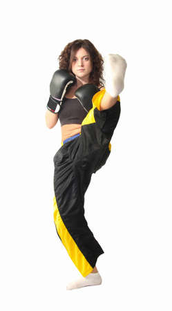 excersise: a kick boxing girl