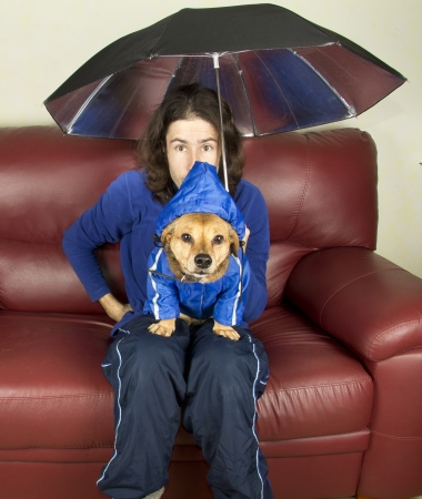 the blue rain dog and master Stock Photo - 17603677