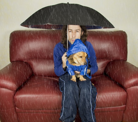 the blue rain dog and master Stock Photo - 17603698