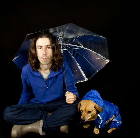 the blue rain dog and master Stock Photo - 17603758