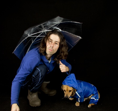 the blue rain dog and master Stock Photo - 17603755