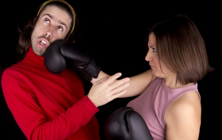 boxing girl defense itself Stock Photo - 17647154
