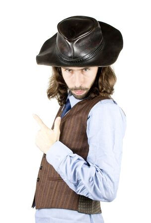 a men with the cowboy hat Stock Photo
