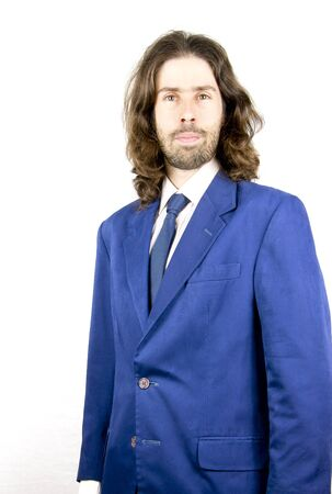 a men with long hair in buisness Stock Photo - 17848932
