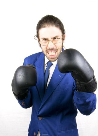 a men with lboxing gloves in buisness Stock Photo - 17848927
