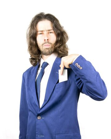 buisness: a men with long hair in buisness Stock Photo