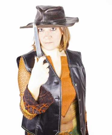 sectarian: knife girl a looking camera Stock Photo