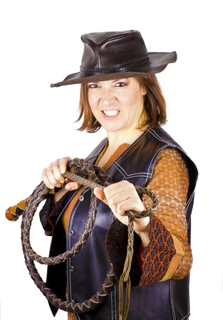 girl hat and whip photo