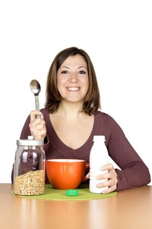 girl breakfast Stock Photo