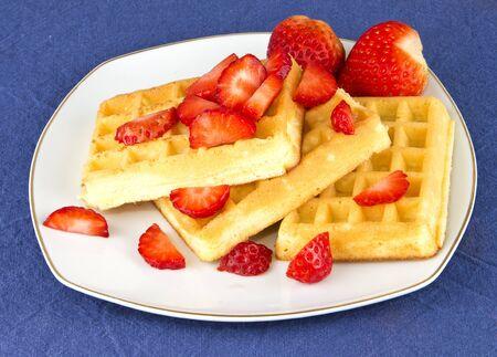 strawberry and waffle Stock Photo