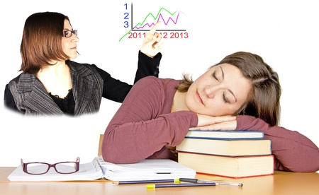 girl sleeps studies Stock Photo - 18971547