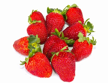 strawberries in the white background