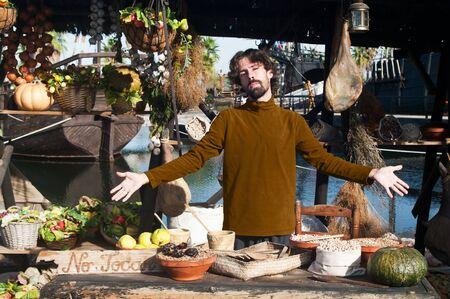 medioeval: a men  medioeval seller  Stock Photo