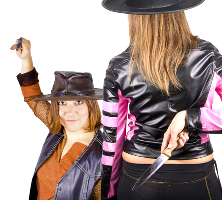 girl knife and hat photo