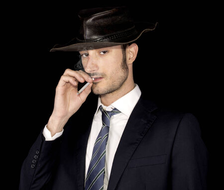 businessman and australian hat