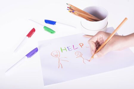 ask for help by drawing on white background