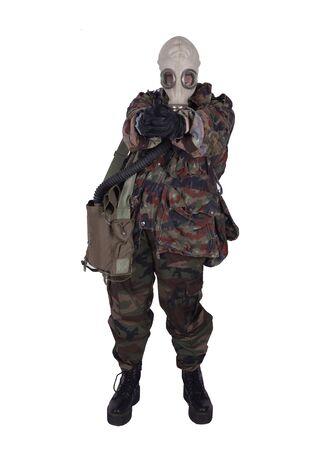 soldier with anti gas mask Фото со стока