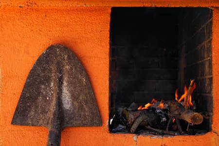 fireplace: Fireplace and shovel