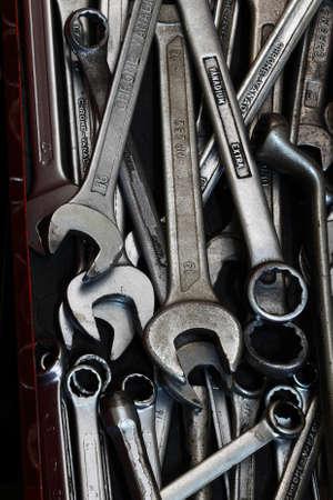 chrome vanadium: Chrome vanadium wrenches tool kit Stock Photo