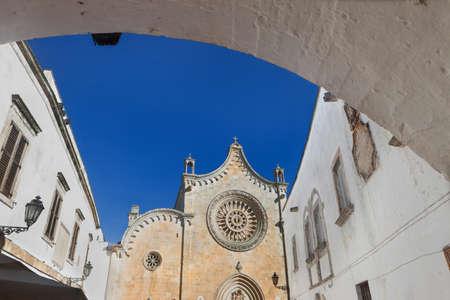 foreshortening: Ostuni the white city, foreshortening of Cathedral, Apulia, Italy
